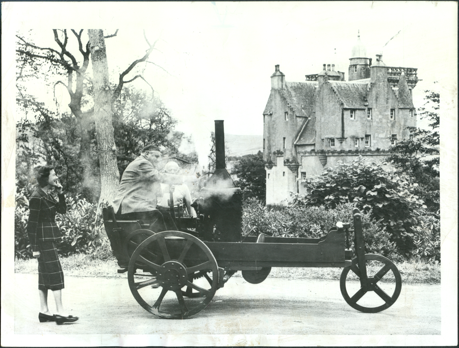 Craigievar Expresss Steam Car, 1890s, Scotland, Postie Lawson