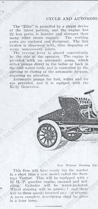 Elite Steam Carriage, D. B. Smith & Company, December 1901, Cycle and Automobile Trade Journal, p. 35, photocopy, Conde Collection.