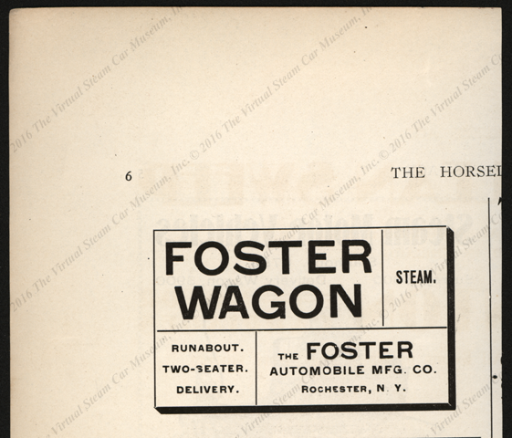 Foster Automobile Manufacturing Company, Horseless Age, October 1900, page 6