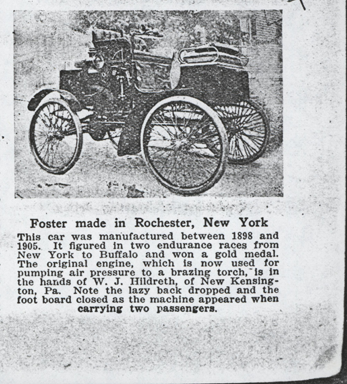 Foster Automobile Manufacturing Company, Rochester, NY.  1925 Automobile Trade Journal article, p. 33, concerning use of Foster engine to power a brazing torch