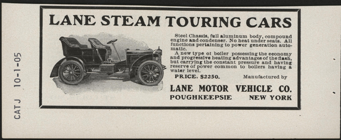Lane Motor Vehicle Company, October 1905 Magazine Advertisement, Cycle and Automobile Trade Journal, John A. Conde Collection