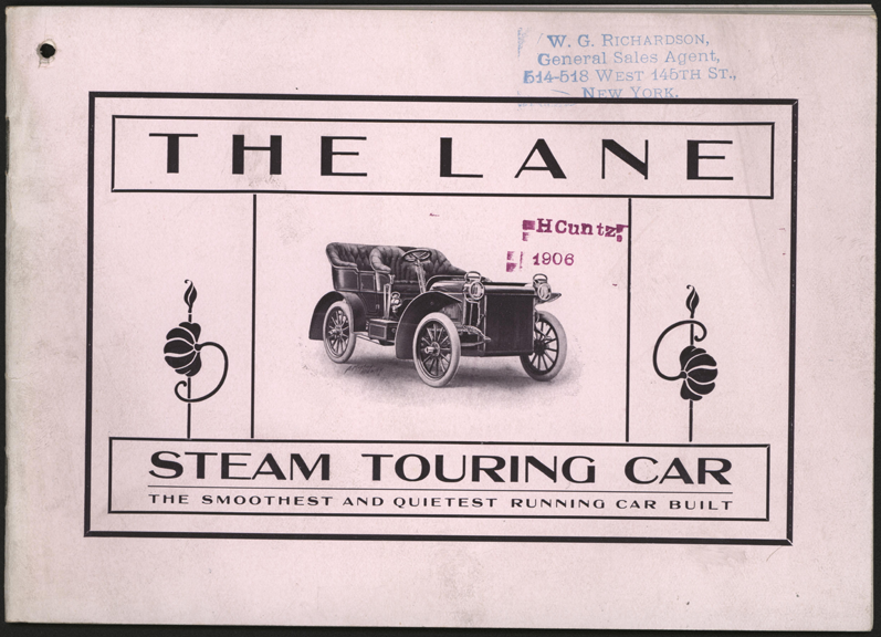 Lane Motor Vehicle Company, 1906 Trade Catalogue, 24 pages, Conde Cllection