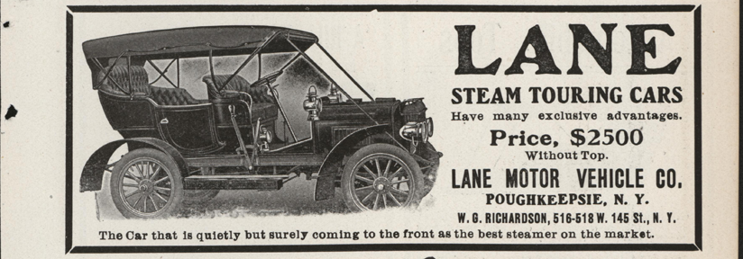 Lane Motor Vehicle Company Magazine Advertisement, February 1907, Cycle and Autombile Trade Journal, p. 499, Conde Collection