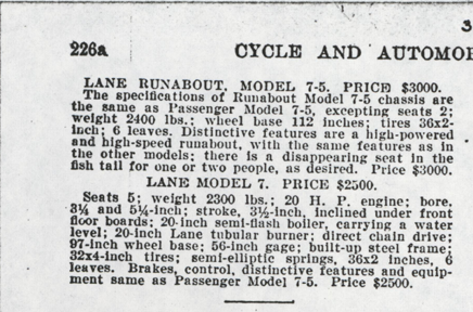 Lane Motor Vehicle Company Magazine Advertisement, August 1906, Cycle and Autombile Trade Journal, p. 226a, Conde Collection