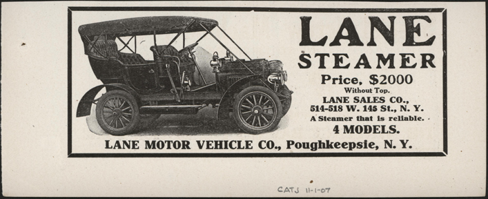 Lane Motor Vehicle Company, November 1907 Magazine Advertisement, Cycle and Autombile Trade Journal, Conde Collection