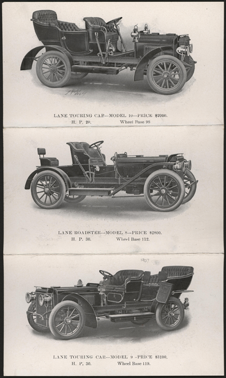 Lane Motor Vehicle Company Trade Catalogue 1907 Conde Collection Front
