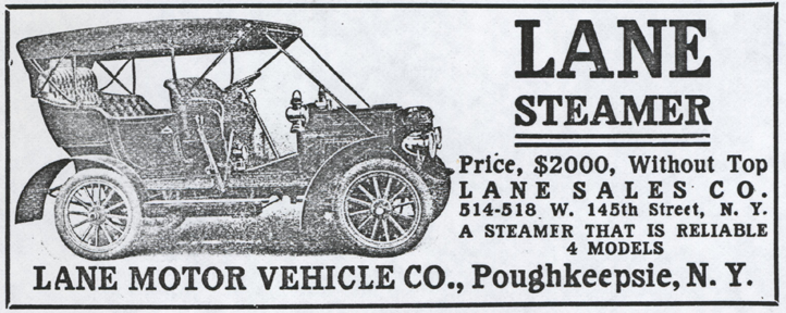 Lane Motor Vehicle Company Magazine Advertisement, Cycle and Automobile Trade Journal, May 1908, p. 327, photocopy, Conde Collection