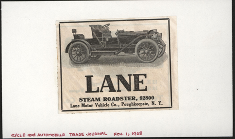 Lane Motor Vehicle Company, Magazine Advertisement, November 1908, Cycle and Automobile Trade Journal, Conde Collection