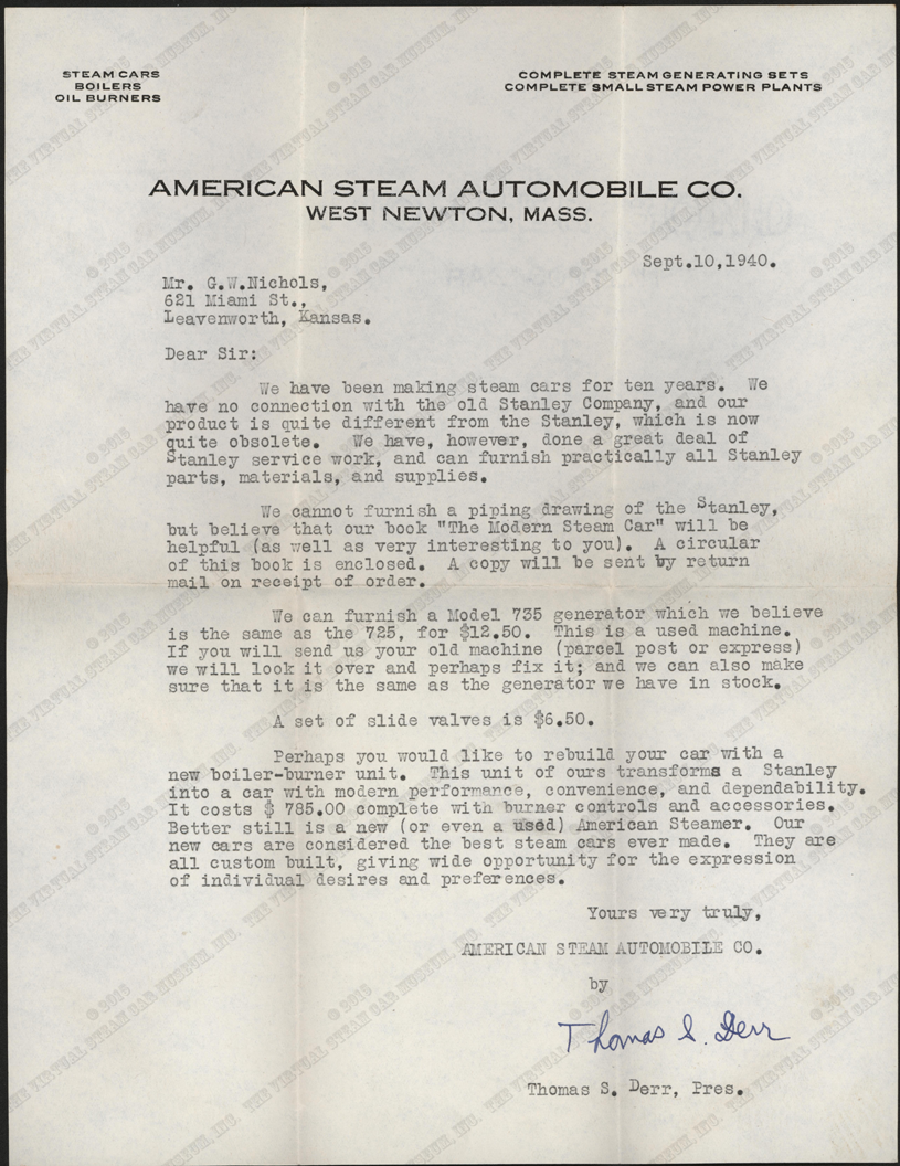 G W Nichols Steam Car Engine Diagram Letter Thomas S Derr To September 10 1940