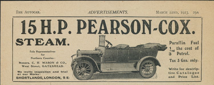 Pearson-Cox Steam Car Magazine Advertisement, March 22, 1912, The Autocar, Page 29A.