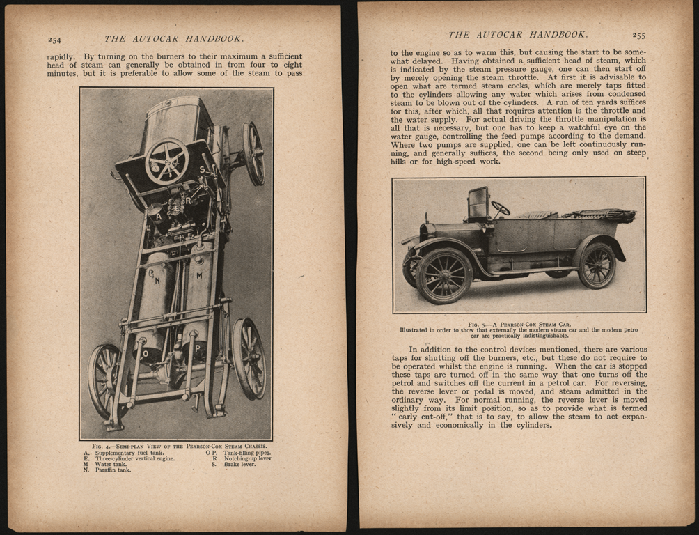 Pearson Cox Steam Car, England, The Autocar Handbook, Pages 253 - 255