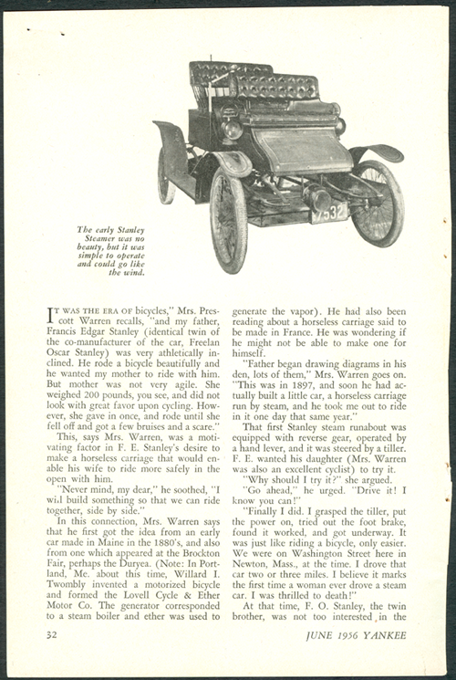 My father built the stanley steamer