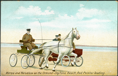 Locomobile and horse race on Ormond Beach