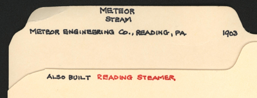 John A. Conde's File Folder, Meteor Engineering Company