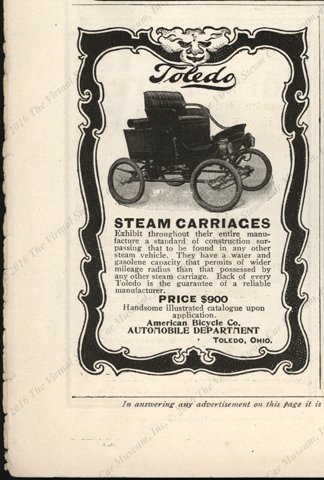 Toledo Steam Carriage Magazine Advertisement, 1901 Munsey's Magazine, American Bicycle Company Automobile Department