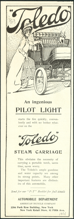 Toledo Steam Carriage, American Bicycle Company, Automobile Department, 1901, Unidentified Magazine Advertisement