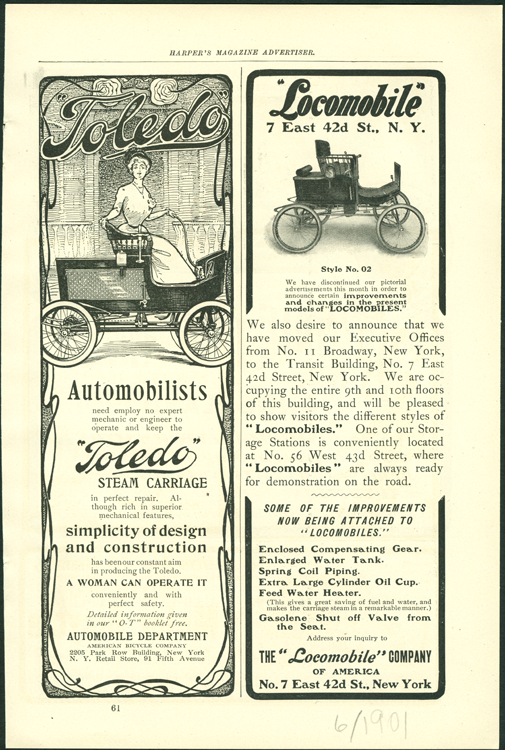 Toledo Steam Carriage, American Bicycle Company Magazine Advertisement, June 1901, Harpers Magazine, p. 61