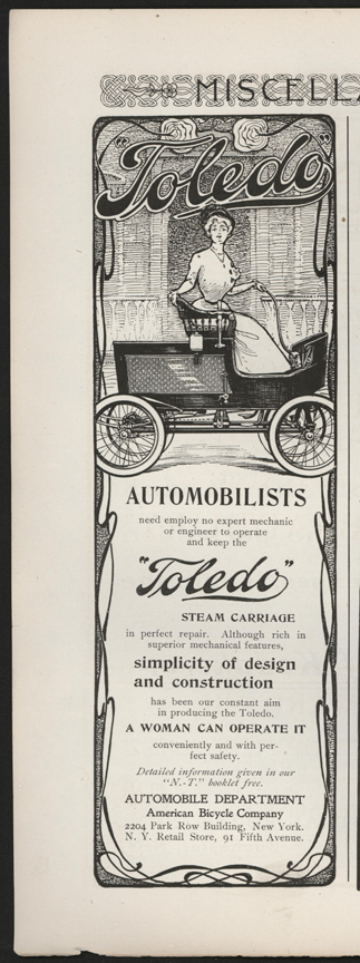 Toledo Steam Carriage, American Bicycle Company Magazine Advertisement, unknown magazine