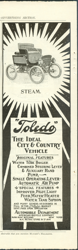 Toledo Steam Carriage, American Bicycle Company Magazine Advertisement, Munsey's Magazine, September 1901