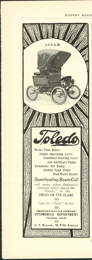 Toledo Steam Carriage, American Bicycle Company Magazine Advertisement, Harper's Magazine, p. 72