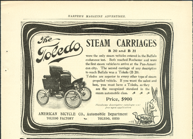 Toledo Steam Carriage, American Bicycle Company, Automobile Department, Magazine Advertisement, Harpers, November 1901, p. 109