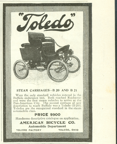 Toledo Steam Carriage, American Bicycle Company, Automobile Department, Magazine Advertisement, Munsey's Magazine, November 1901