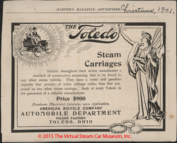 Toledo Steam Carriage, American Bicycle Company, Automobile Department, Magazine Advertisement, Harpers Magazine, December 1901