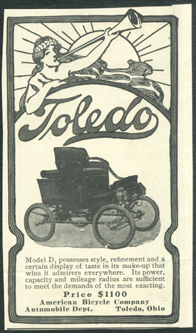 Toledo Steam Carriage, American Bicycle Company, Automobile Department, December 1901, Unknown Magazine Advertisement