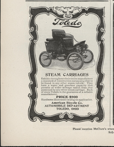 Toledo Steam Carriage, American Bicycle Company, Automobile Department, December 1901, McClure's Magazine, p. 80b