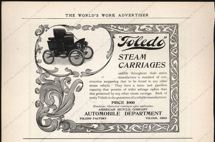 Toledo Steam Carriage, American Bicycle Company, Worlds Work Magazine advertisement, half page,  1901