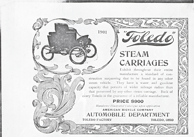 Toledo Steam Carriage, American Bicycle Company, Automobile Department, 1901 undated magazine advertisement  photocopy