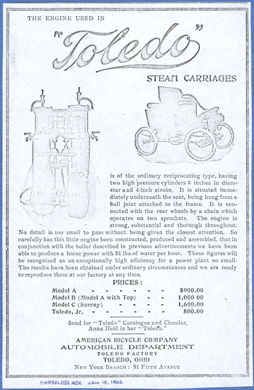 Toledo Steam Carriage, American Bicycle Company, Automobile Department, Horseless Age, January 15, 1902, Conde Collection