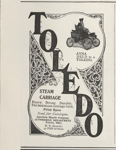 Toledo Steam Carriage, American Bicycle Company, Automobile Department, McClure's Magazine, January 1902, p. 61