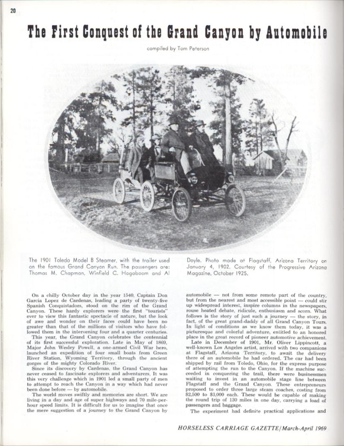 Toledo Steam Carriage, Tom Peterson Article, Horseless Carriage Gazette, March-April 1969, First Car to Grand Canyon