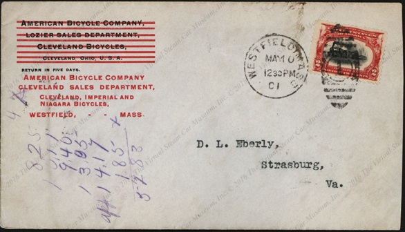 American Bicycle Company Advertising Cover, May 10, 1901, Westfield, MA Front