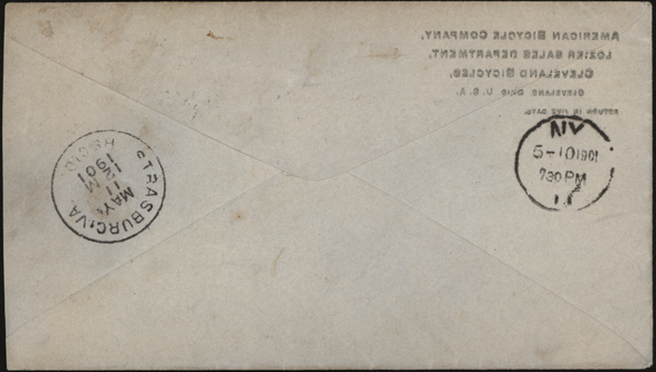 American Bicycle Company Advertising Cover, May 10, 1901, Westfield, MA Reverse
