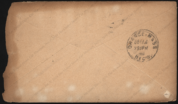 International Motor Car Company, Advertising coverr to C. E. Coolidge, October 13, 1902. Reverse