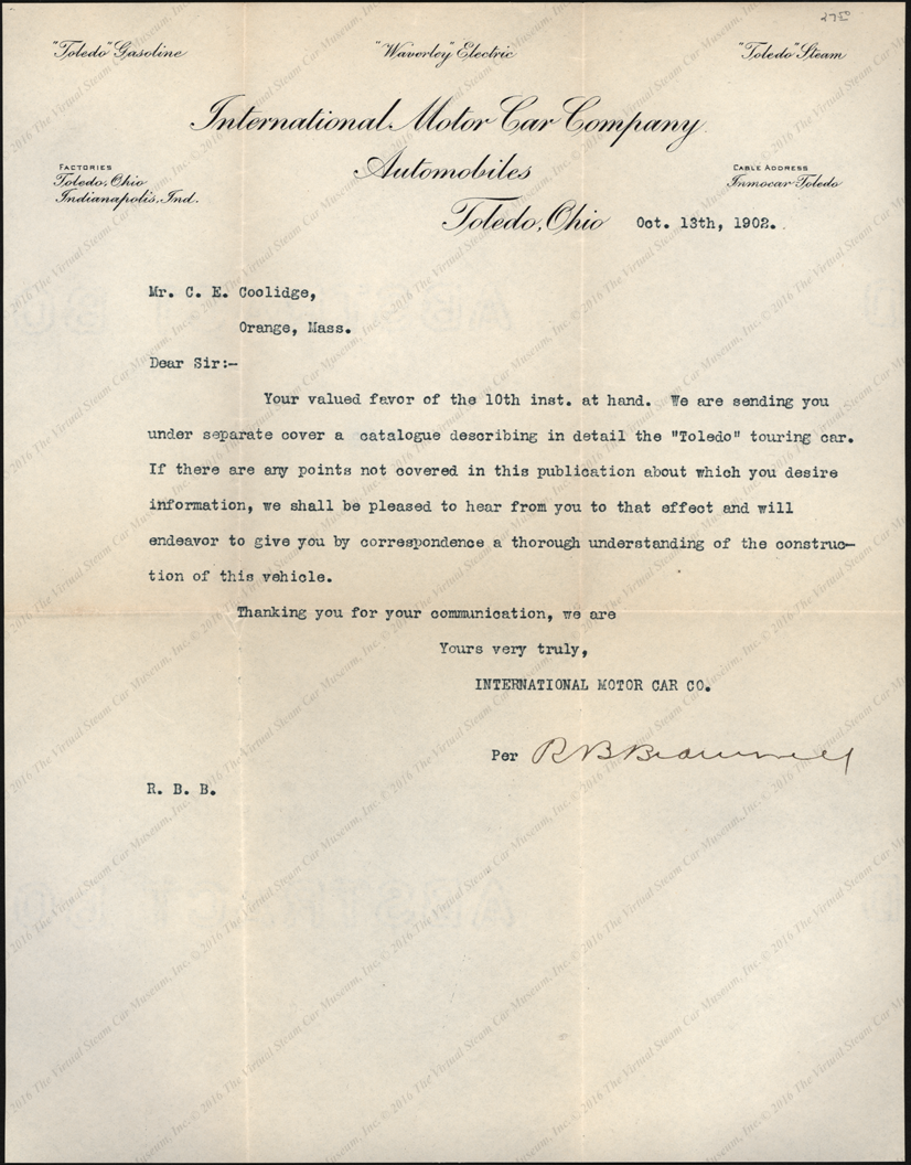 International Motor Car Company, Letter to C. E. Coolidge, October 13, 1902