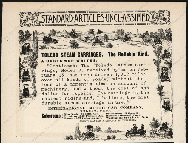 Toledo Steam Carriage, International Motor Car Company 1902  magazine advertisement in American Monthly Review of Reviews, p. 66.
