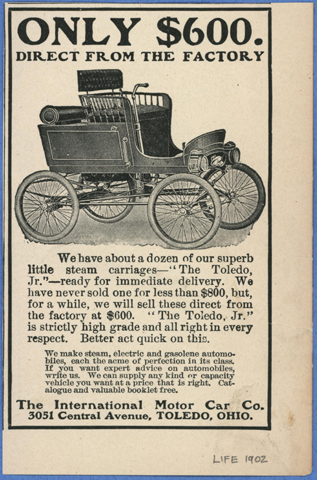 Toledo Steam Carriage, International Motor Car Company, Magazine Advertisement, Unknown Magazine, late 1902, Conde Collection