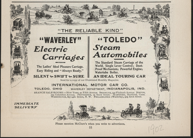 Toledo Steam Carriage, International Motor Car Company, Magazine Advertisement, Unknown Magazine