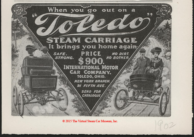 Toledo Steam Carriage, International Motor Car Company, Magazine Advertisement, Unknown Magazine, late 1902?, p. 47.