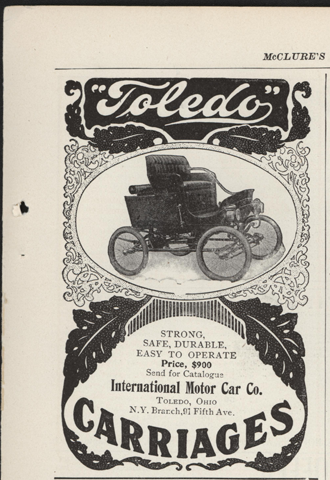 Toledo Steam Carriage, International Motor Car Company, February 1902 Magazine Advertisement, McClure's Magazine, p. 89