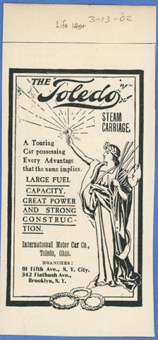 Toledo Steam Carriage, International Motor Car Company, Life Magazine Advertisement, March 13, 1902 Conde Collection