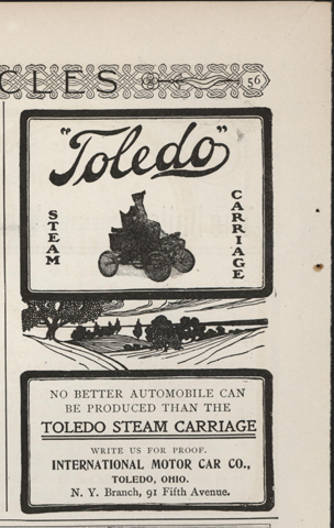 Toledo Steam Carriage, International Motor Car Company, Century Magazine Advertisement, March 1902, p. 56.