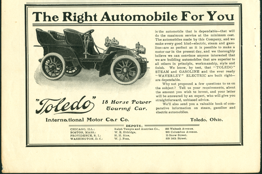 Toledo Steam Carriage, International Motor Car Company, Magazine Advertisement, Horseless Age, p. xx