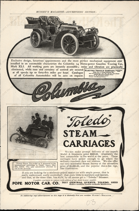 Toledo Steam Carriage, Pope Motor Company, 1903 Munsey's Magazine Advertisement