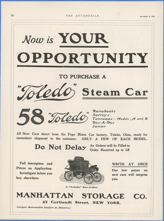 Toledo Steam Carriage, Manhattan Storage Company, December 5, 1903, Automibile Magazine, p. 70, Conde Collection