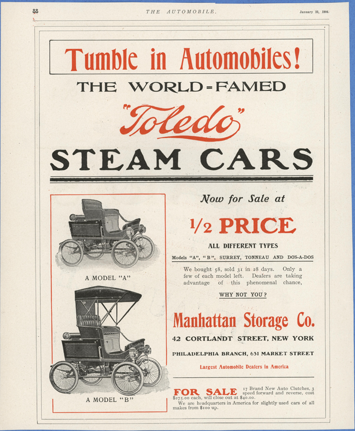 Toledo Steam Carriage, Manhattan Storage Company, The Automobile Magazine, January 22, 1904, p. 88, Conde Collection