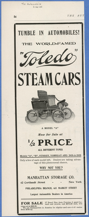 Toledo Steam Carriage, Manhattan Storage Company, February 20, 1904, The Automobile Magazine, p. 86, Conde Collection
